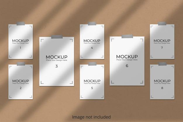 Moodboard-modell, das an der wand mit schattenüberlagerung hängt