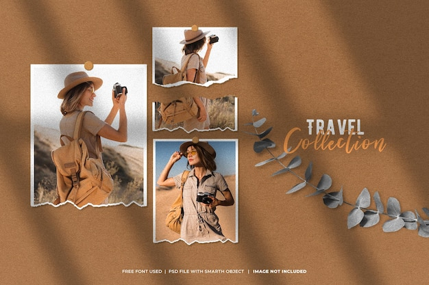 Moodboard polaroid reisefotomodell