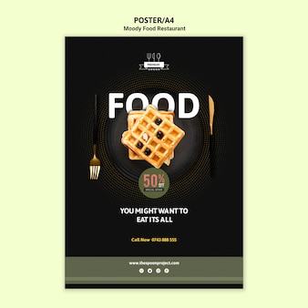 Moody food poster mit waffeln