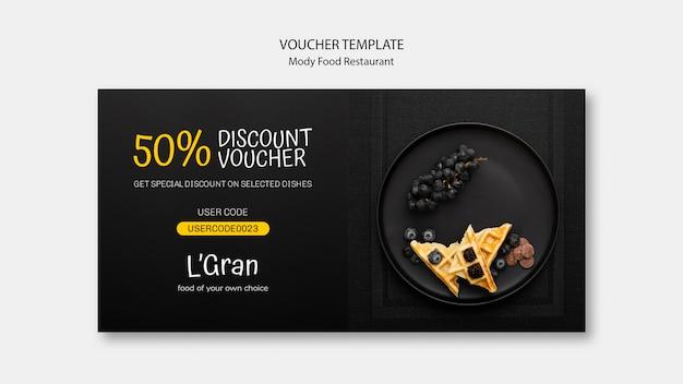 Moody food restaurant gutschein vorlage