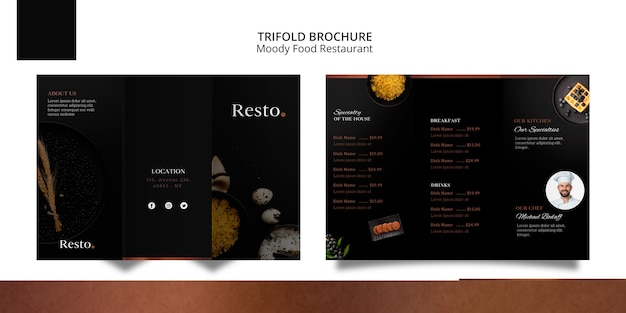 Moody food trifold broschüre vorlage
