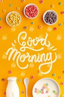 Morgenfrühstück mit müsli und milch