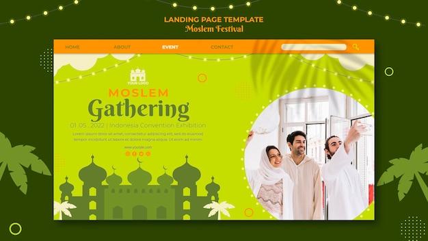 Moslemisches sammeln der landingpage-vorlage