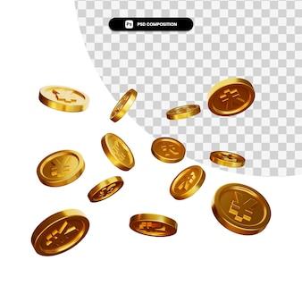 Münze 3d visuell für zusammensetzung isoliert