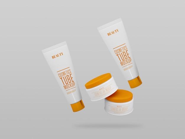 Multiple cosmetic cream jar & tube mockup