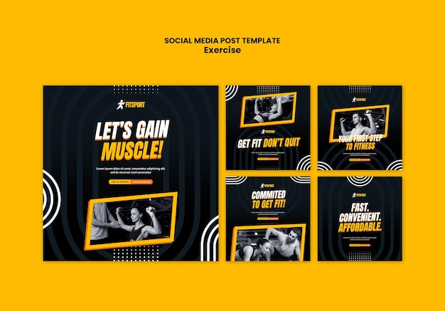 Muscle gain social media post vorlage