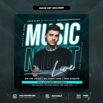Music night live social media beitragsvorlage