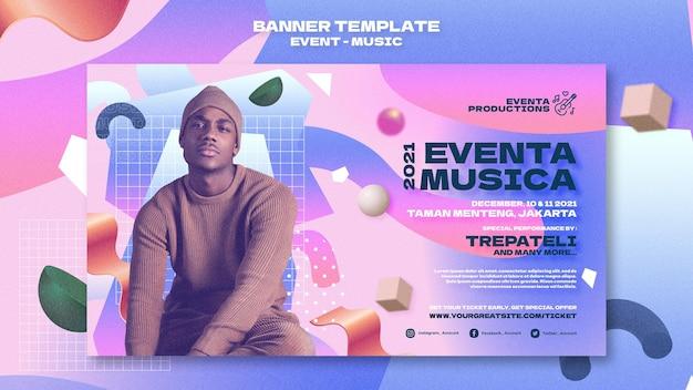 Musik-event-banner-vorlage im retro-stil