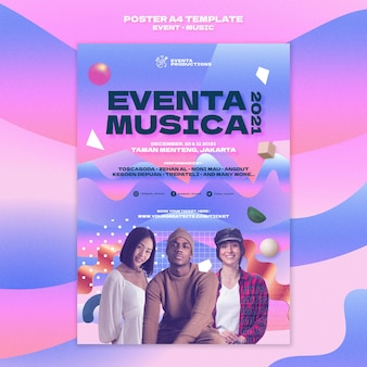 Musik-event-druckvorlage im retro-stil