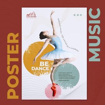 Musik-flyer-vorlage mit foto der ballerina