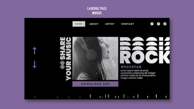 Musik-landingpage-vorlage mit foto