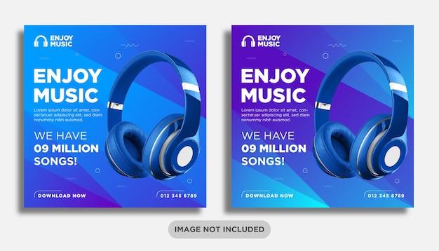 Musik oder kopfhörer social media post banner vorlage