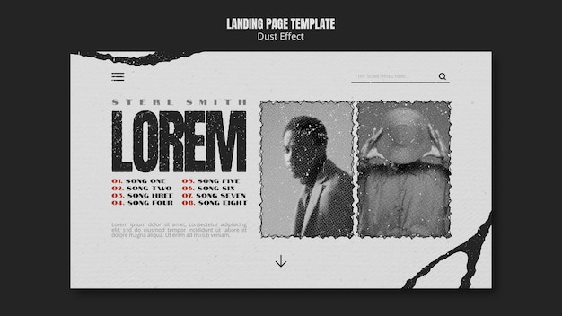 Musikalbum-homepage mit staubeffekt