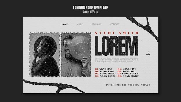 Musikalbum-landingpage mit staubeffekt
