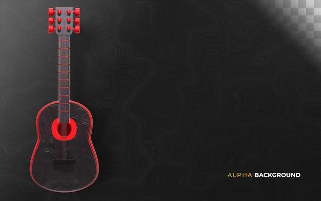 Musikalischer hintergrund der gitarre. 3d-darstellung