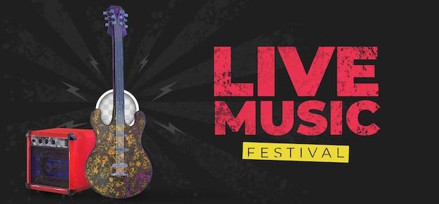 Musikalisches banner mit akustikgitarre. 3d-rendering