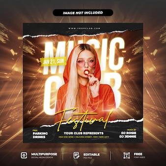 Musikfestival mit cutoff paper torn effect social media post template