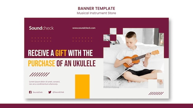 Musikinstrument konzept konzept banner vorlage