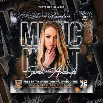 Musiknacht party flyer social media post und webbanner
