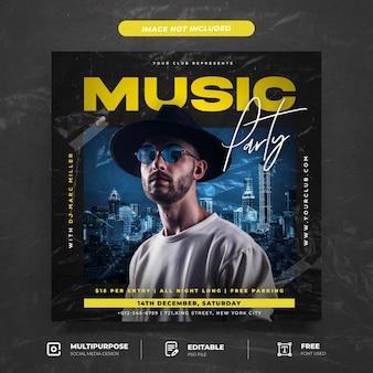 Musikparty mit social-media-post-vorlage im plastikstil