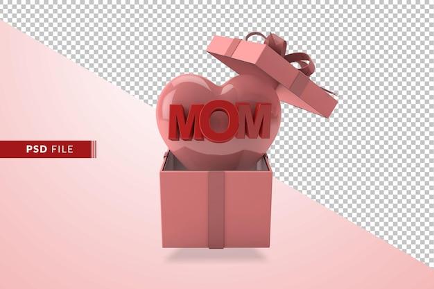 Muttertag rosa konzept in 3d mit herzen