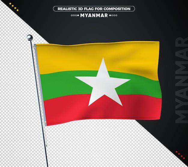 Myanmar flagge mit realistischer textur isoliert