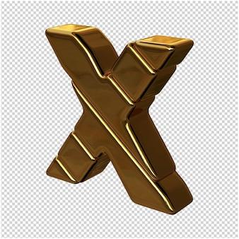 Nach links gedrehte buchstaben aus goldbarren auf transparentem hintergrund. 3d großbuchstabe x