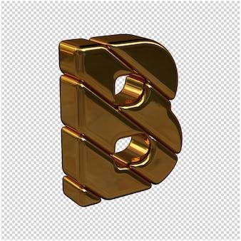 Nach rechts gedrehte buchstaben aus goldbarren auf transparentem hintergrund. 3d großbuchstabe b