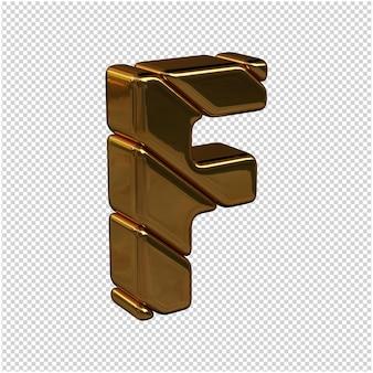 Nach rechts gedrehte buchstaben aus goldbarren auf transparentem hintergrund. 3d großbuchstabe f