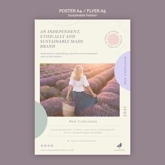 Nachhaltige modeplakatdruckvorlage der jungen frau