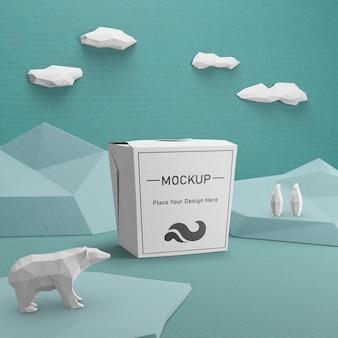 Nachhaltige papiertüte mit eisbärenkonzept