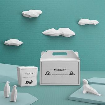Nachhaltige papiertüten für das ocean day-konzept