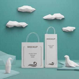 Nachhaltige papiertüten für den tag des ozeans