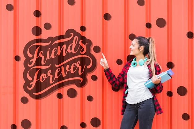 Nachricht an der wand als schule für freundschaft
