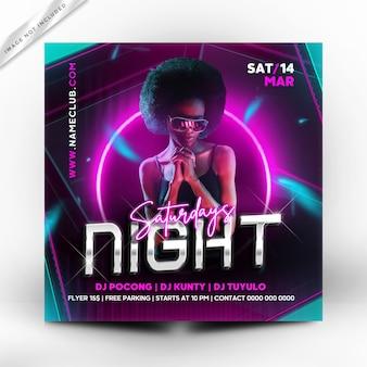 Nacht samstag party flyer vorlage