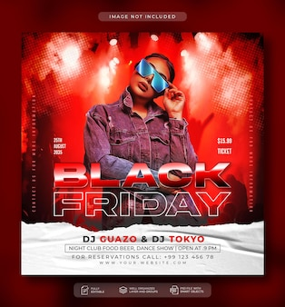 Nachtclub- oder dj-party-flyer-social-media-post und web-banner-vorlage