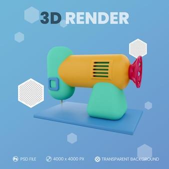 Nähmaschine 3d-render mit isoliertem hintergrund