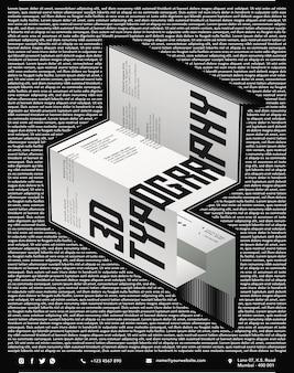 Nahaufnahme auf 3d typographic poster isoliert