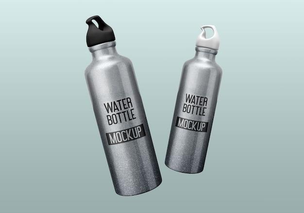 Nahaufnahme auf aluminium-wasserflaschen-modell