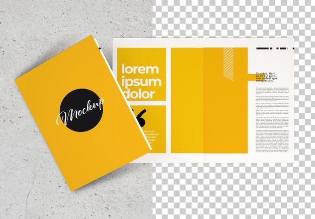 Nahaufnahme auf bifold-broschüre isoliertes modell