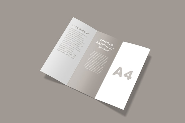 Nahaufnahme auf broschüre trifold mockup isolated