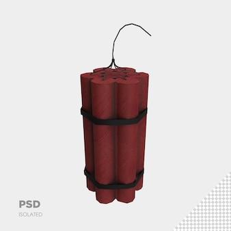Nahaufnahme auf dynamit 3d isolierte premium-psd