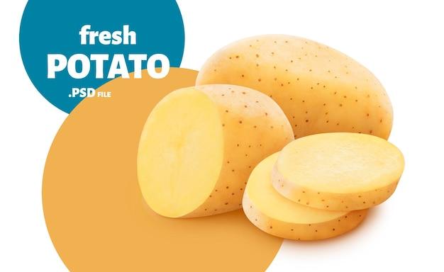 Nahaufnahme auf frischen kartoffelscheiben isoliert