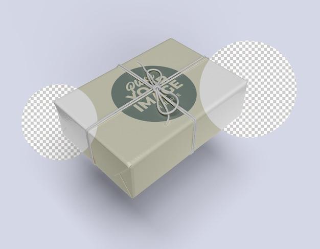 Nahaufnahme auf geschenkbox mockup design isoliert