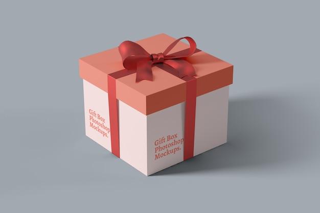 Nahaufnahme auf geschenkbox mockup perspective view Premium PSD