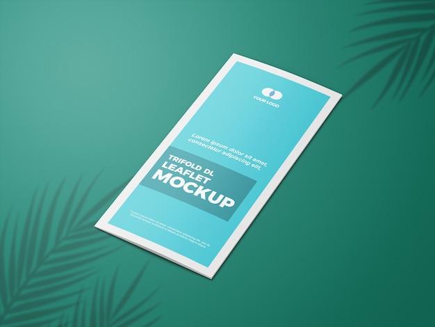 Nahaufnahme auf geschlossenem trifold leaflet mockup