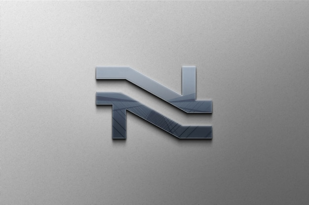 Nahaufnahme auf glänzendem 3d-logo-modell