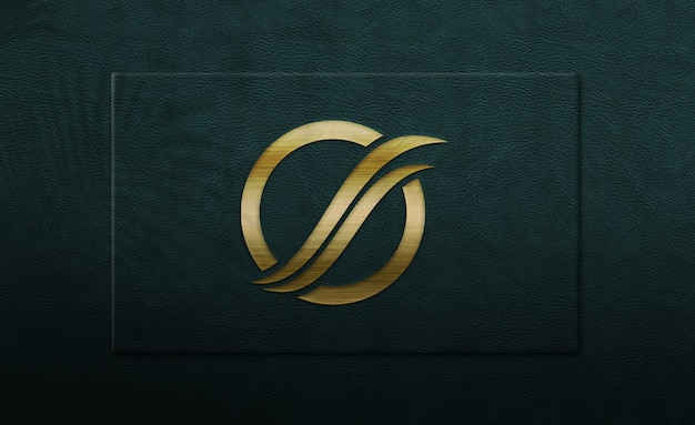 Nahaufnahme auf goldenem logo modell