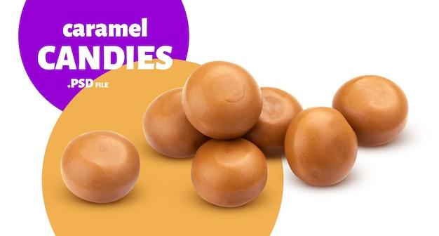 Nahaufnahme auf köstliche karamellbonbons isoliert