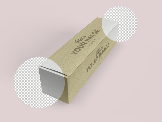 Nahaufnahme auf long box mockup design isoliert